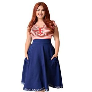 Unique Vintage Nautical Ribbon Swing Skirt 1X/UK3X